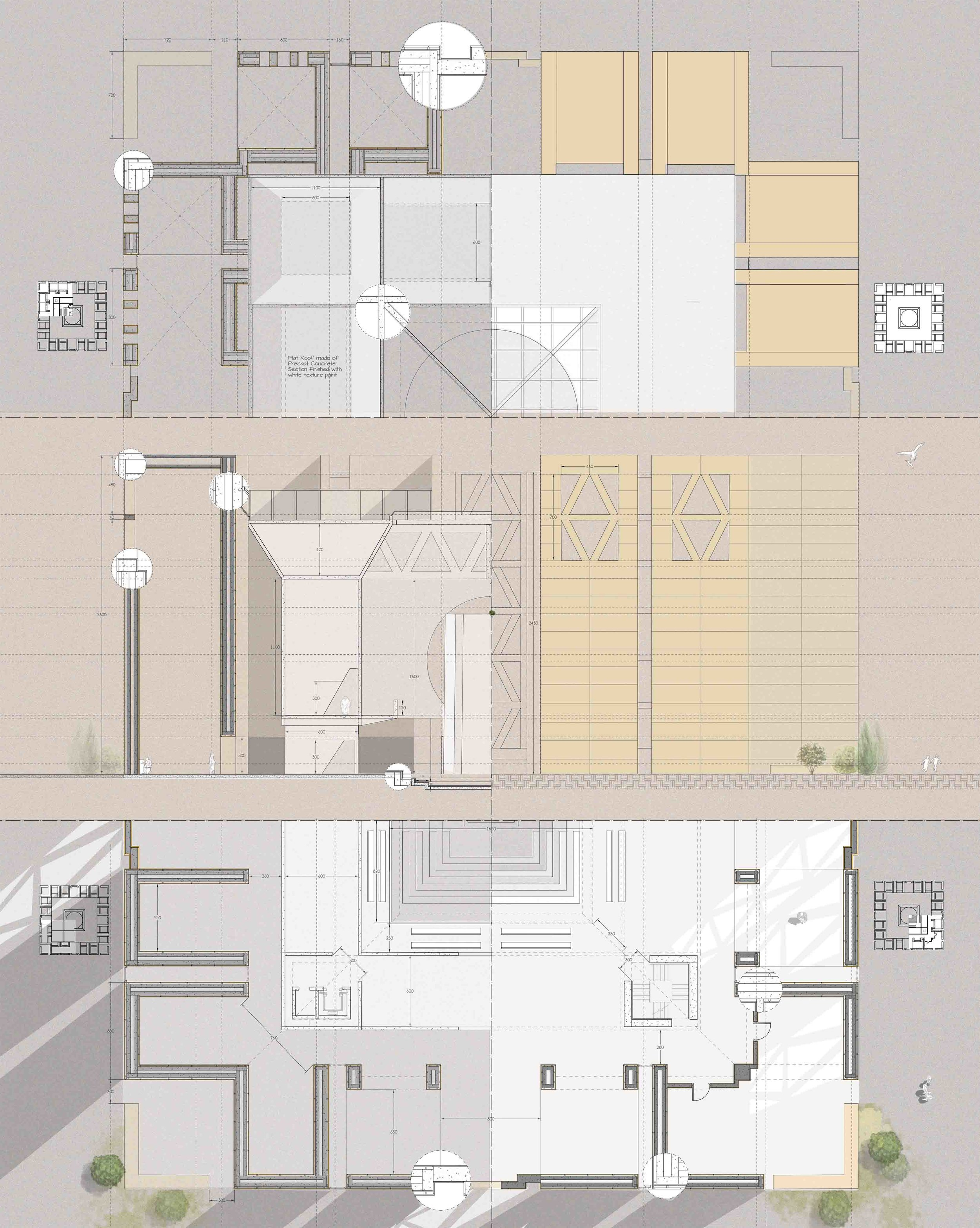 Composite drawing of all the four floor plans, juxtaposed with the sectional elevation, with the use of materiality and texture to emphasize light and shadow.