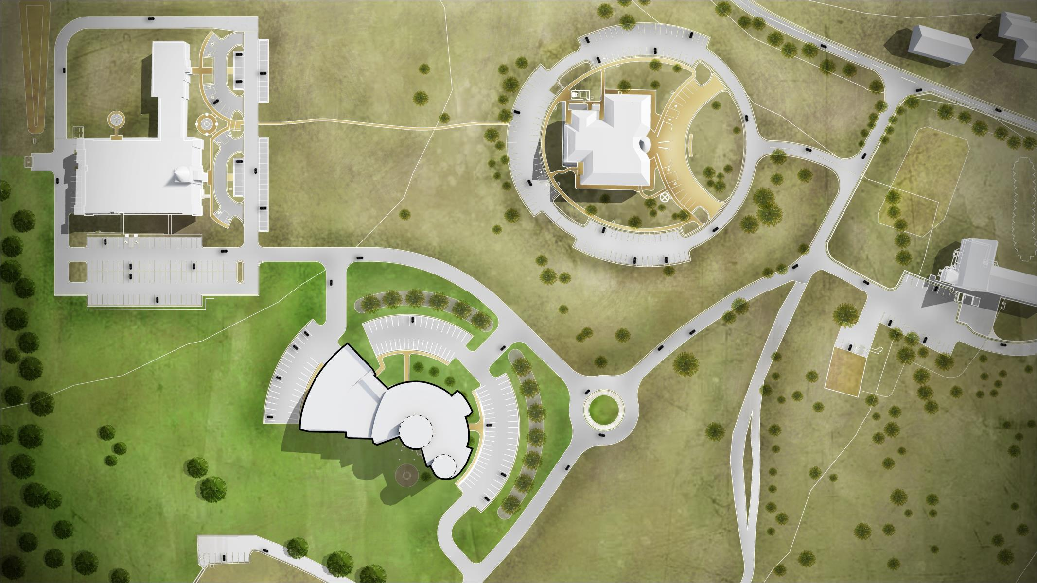 Master Plan render of the Pokagon Justice Center, worked on  Sketchup, Lumion, and Photoshop