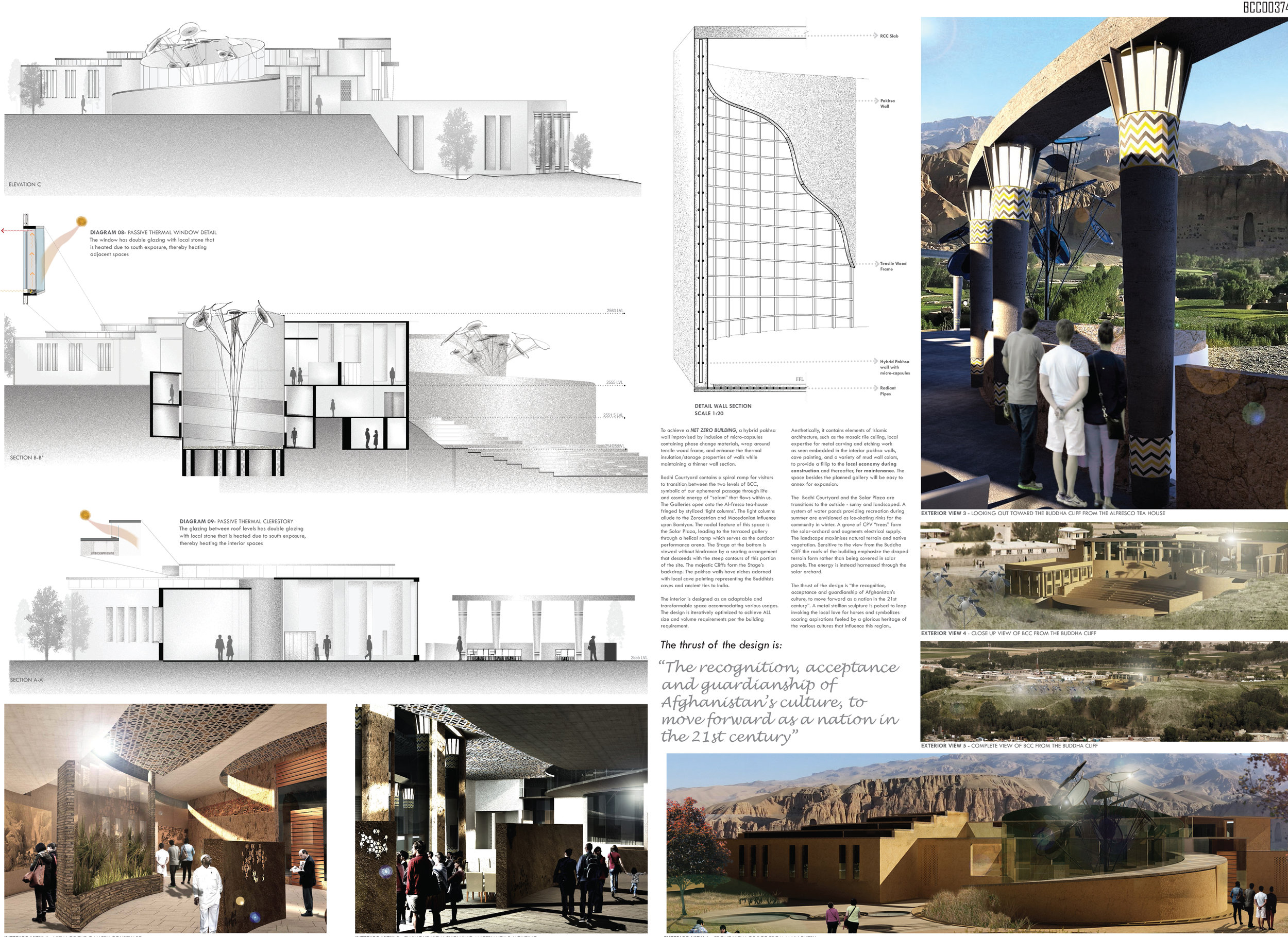 Composed sheets for the Bamiyan competition, worked on  Revit, Photoshop and Illustrator . Worked on the elevation drawings, and the detailing for the project.