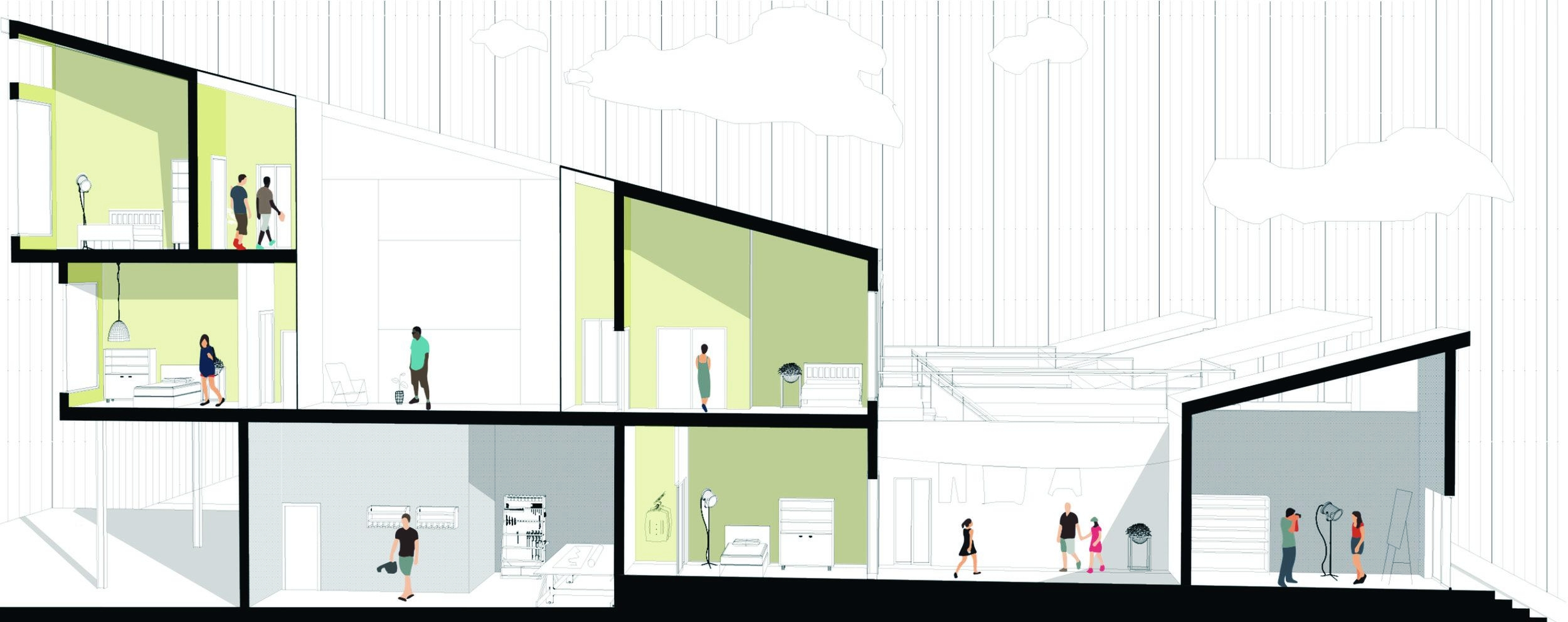 Perspective section of building, showing the juxtaposition of Maker+Commercial spaces, Courtyards, and Residential spaces.