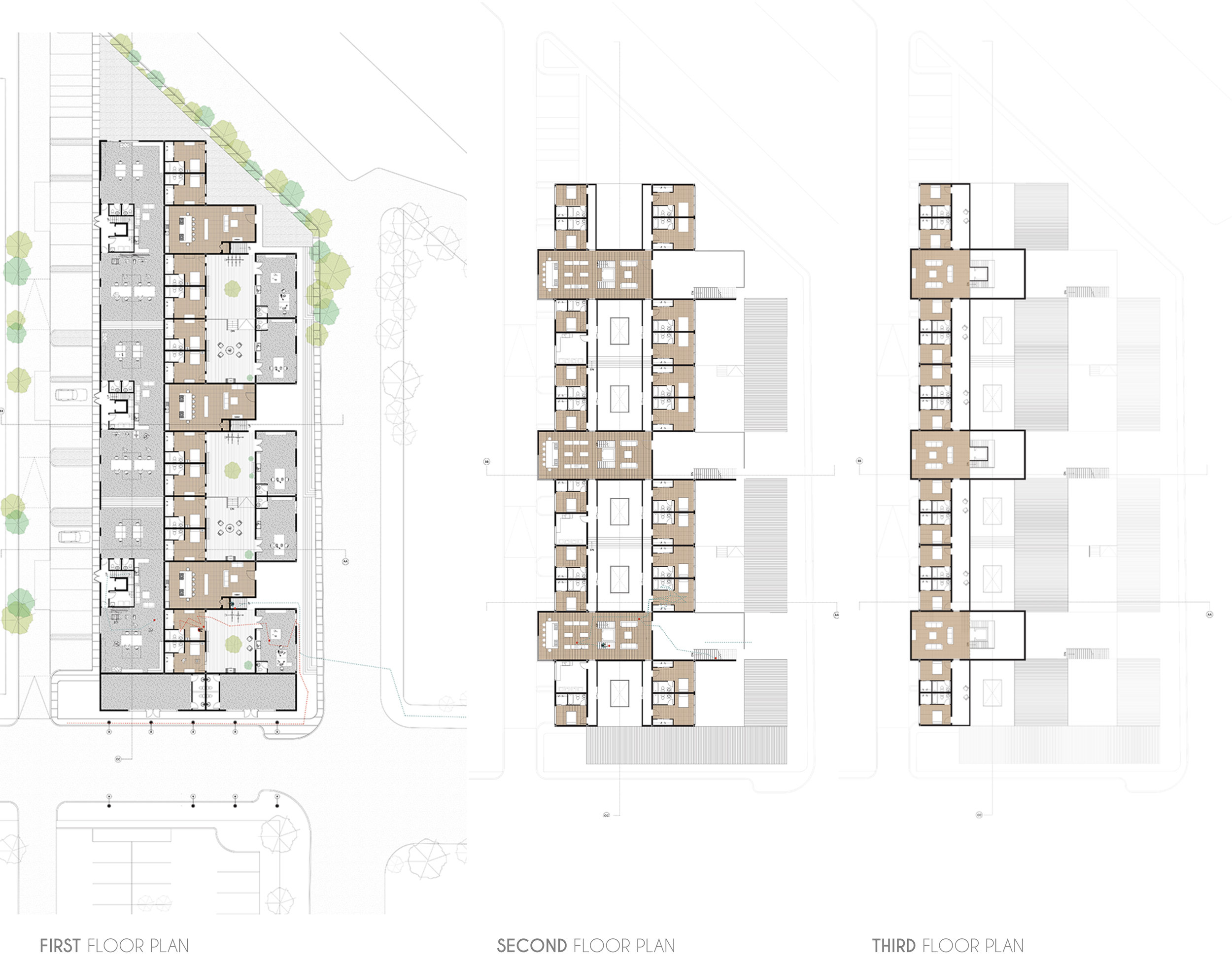 Floor Plans showing layering of spaces-from Public to Private as you move upwards. Also, materiality has been used to denote these transitions.