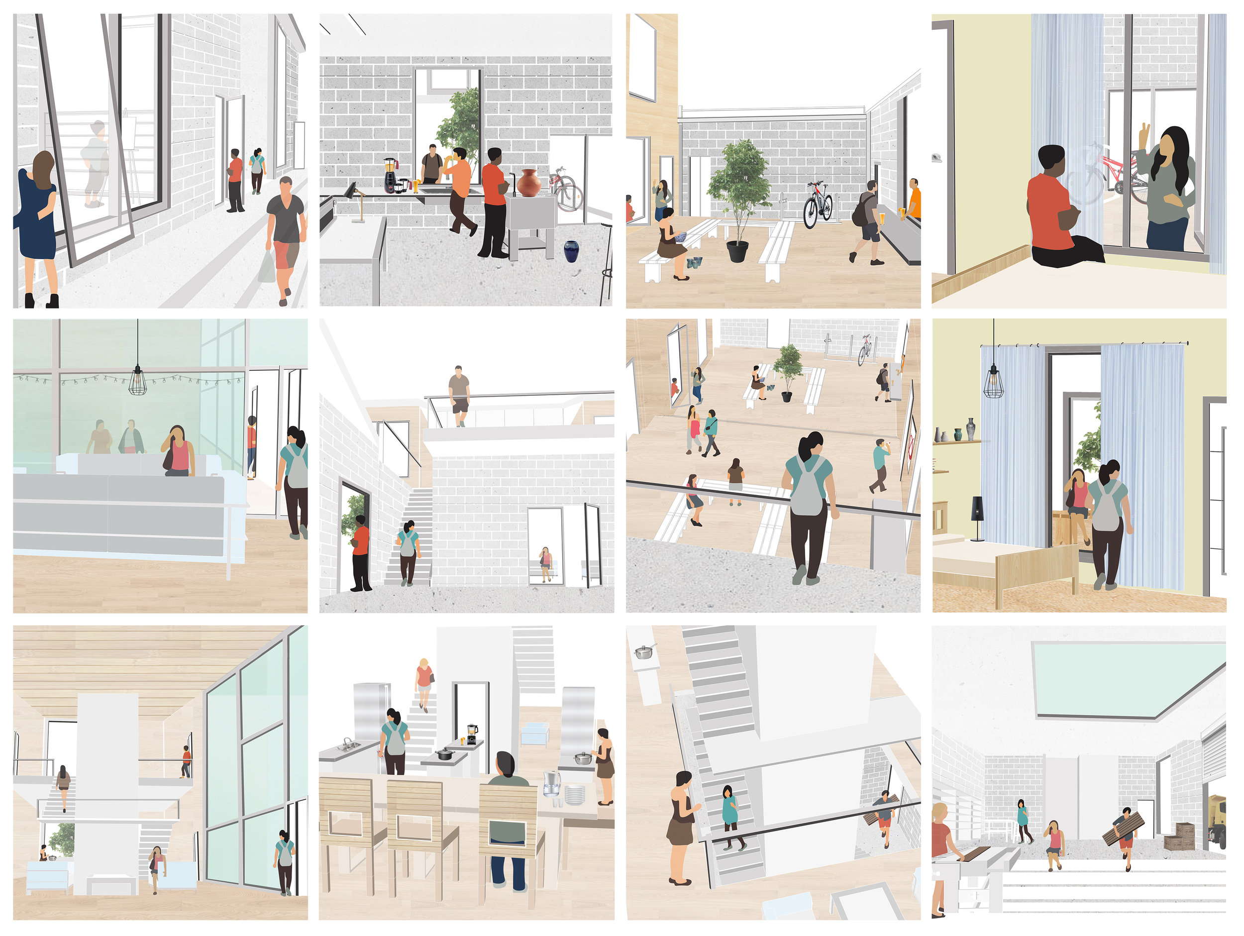 Sequential vignettes showing movement of two characters, as they navigate from the maker spaces to their residential, more private spaces.