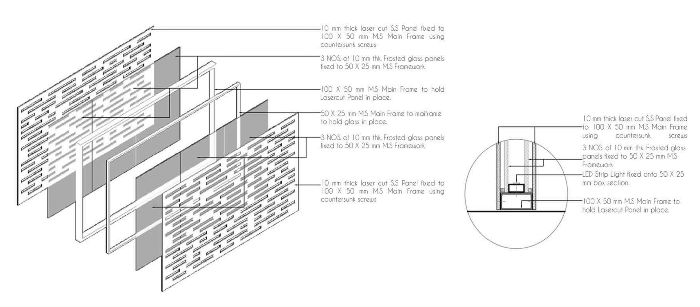 Detail drawings of the Metal gate designed for the Front Entrance.