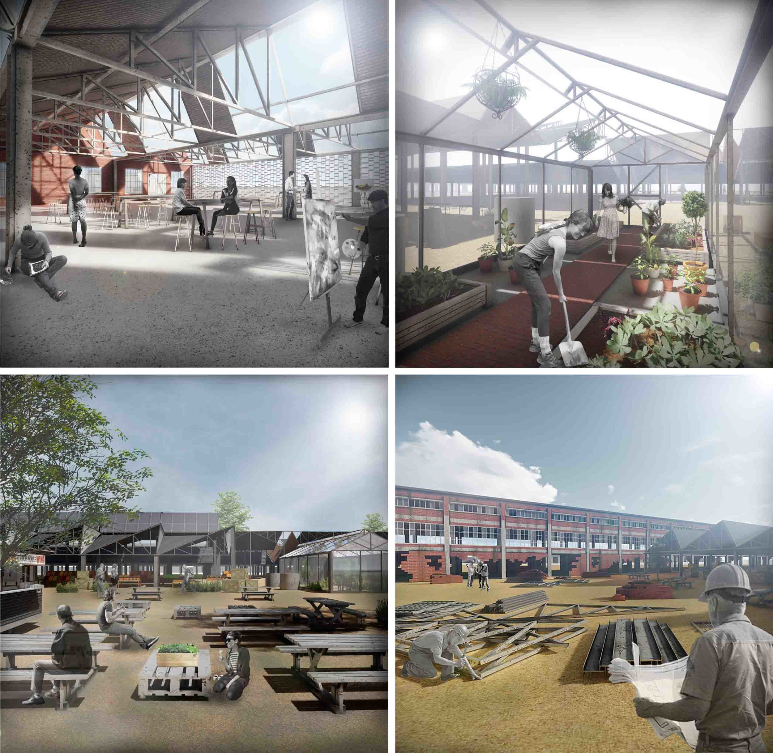 Renderings of the various iterative transformative possibilities of the building.