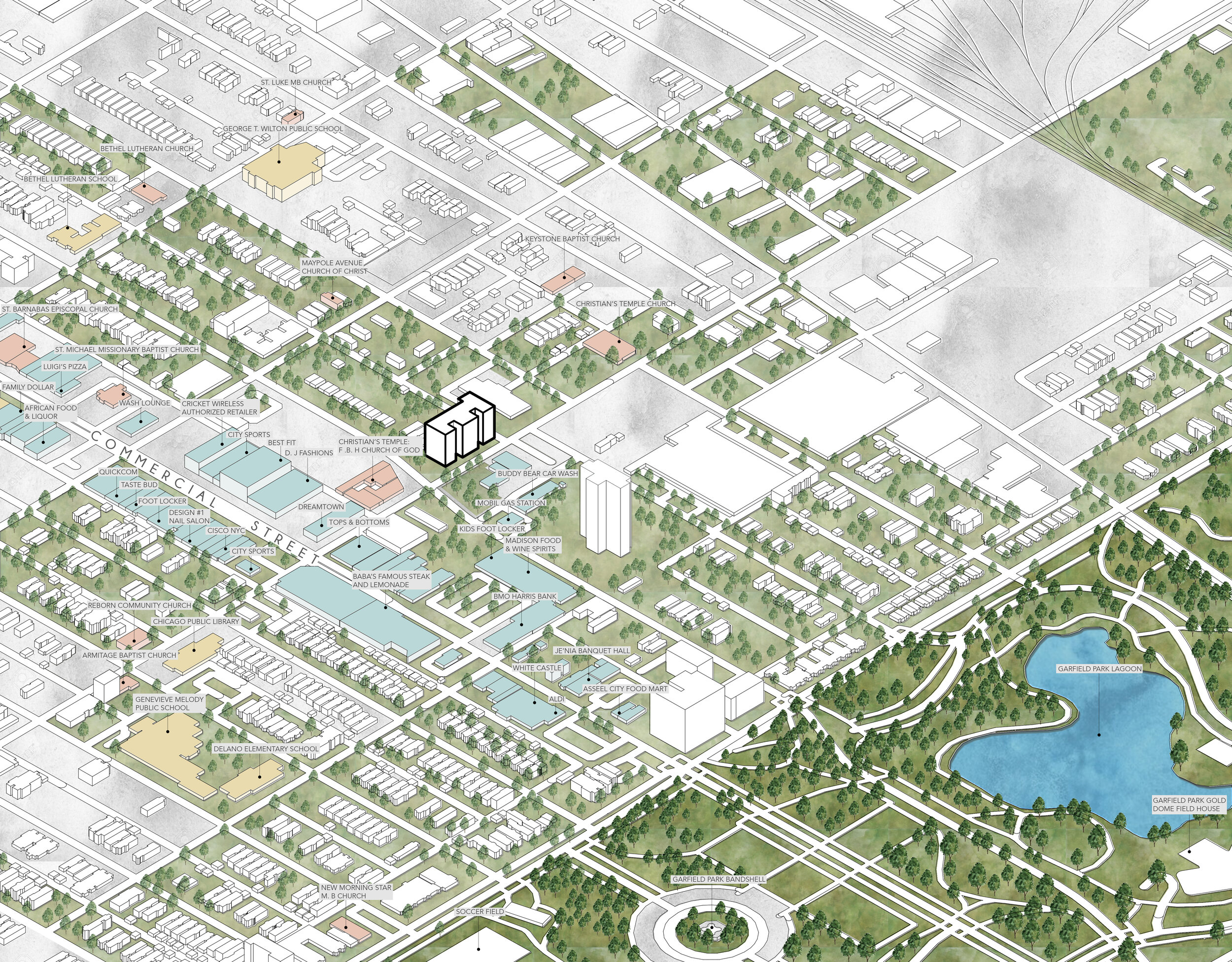 Master Planning diagram showing proximity to Garfield Park, as well as retail and educational buildings around the site