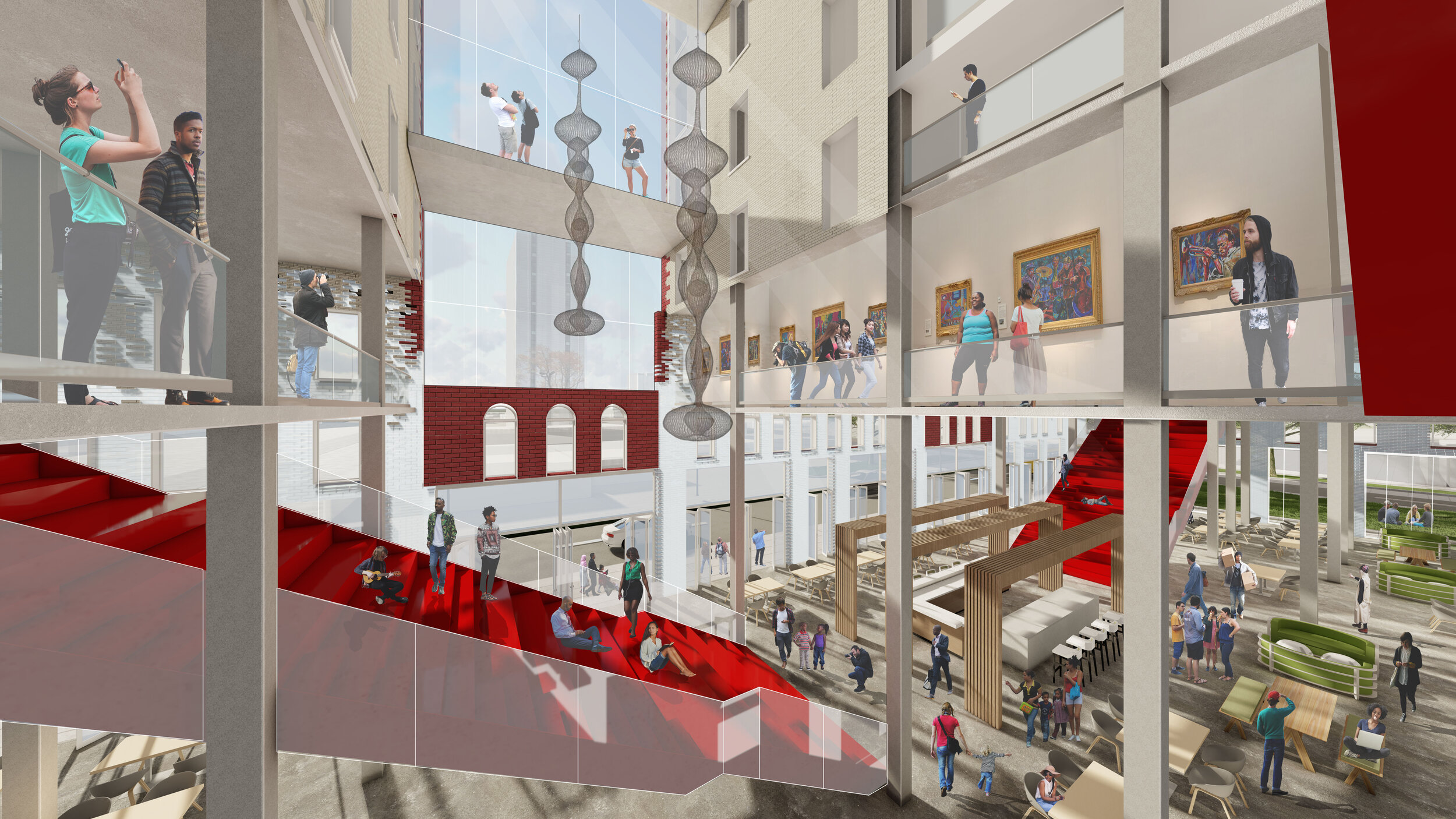 Interior rendering showing lighting of common first floor space, as well as transparency from exterior to interior, and also within the interior spaces as well