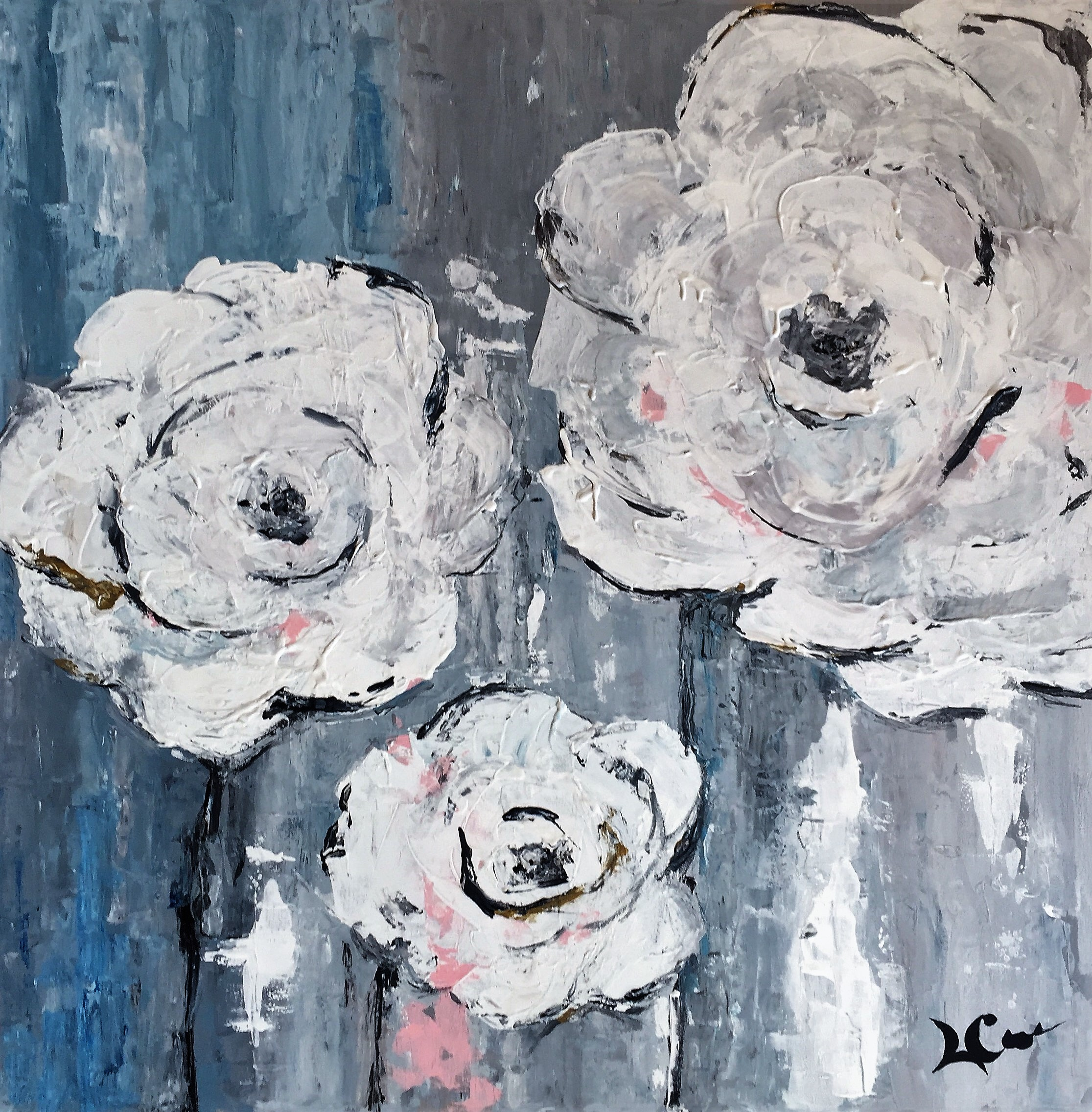"""""""FIRST FLOWERS""""  48 x 48 inches  Acrylic on gallery wrapped canvas."""
