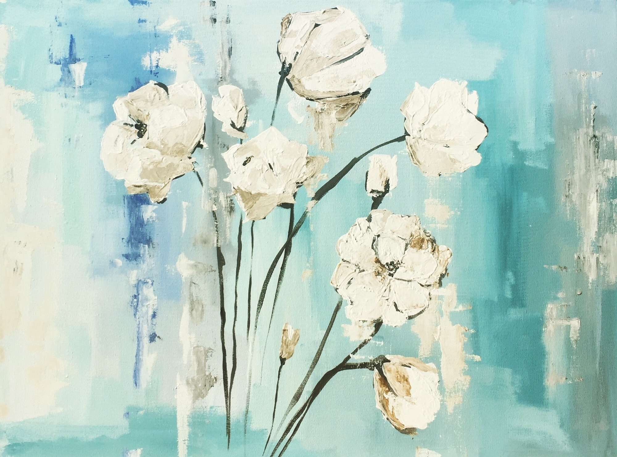 """""""SPRING WHITES""""  24 x 36 inches  Acrylic on gallery wrapped canvas."""