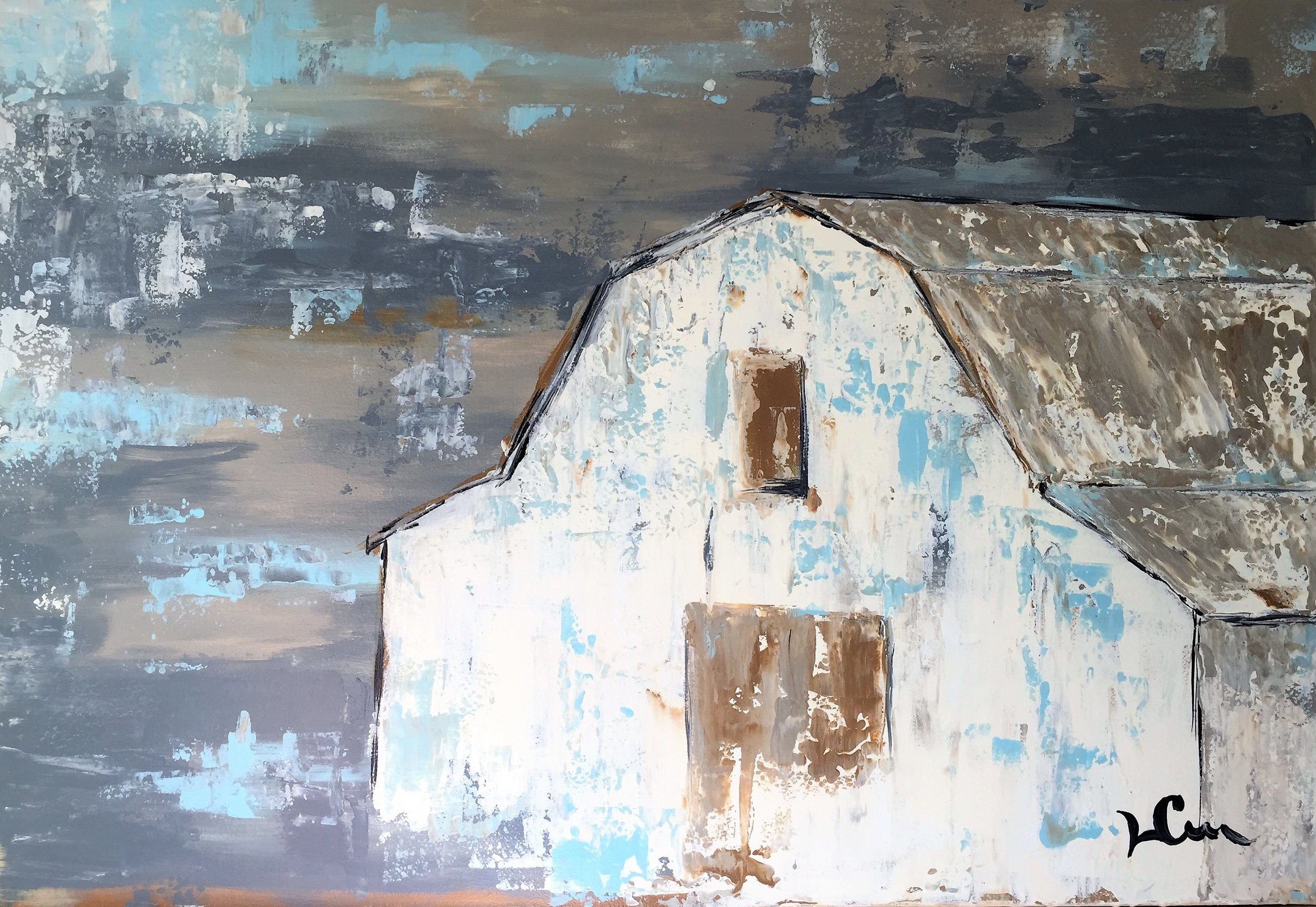 """""""NEIGHBOR'S BARN""""  22 x 32 inches  Acrylic on gallery wrapped canvas."""