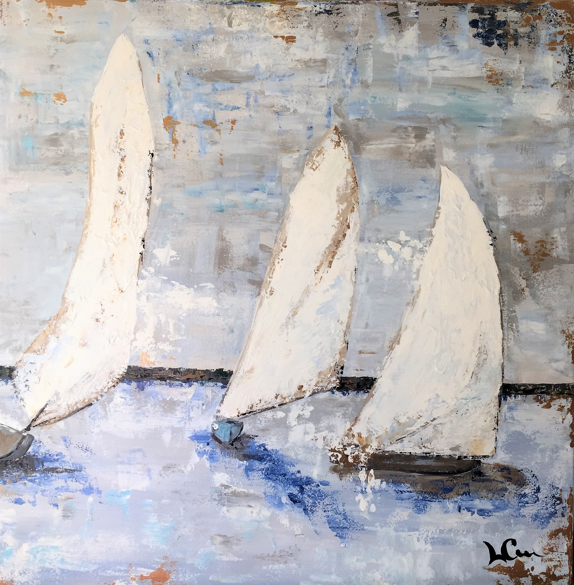 """""""SOUND SAILING""""   24 x 24 inches   Acrylic on gallery wrapped canvas."""