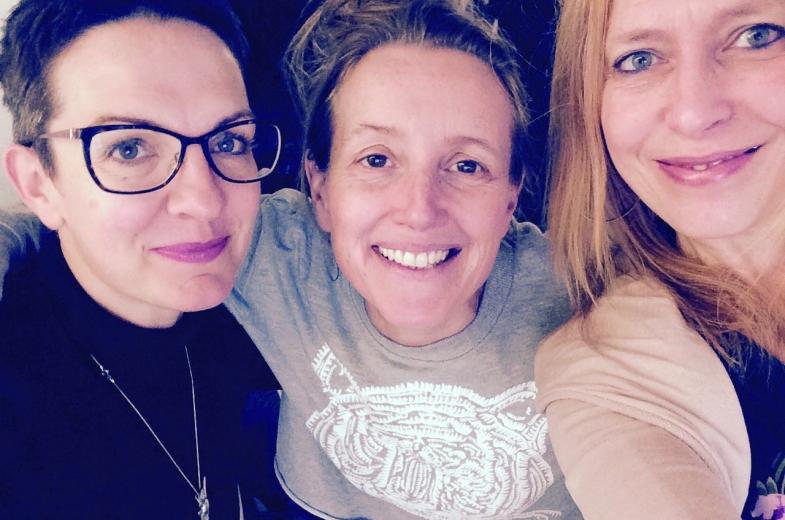 De 3 dames van Mei Plasticvrij. Mies Maria Meulders, Ineke VanNieuwenhove en Anne Wislez © Mei Plasticvrij