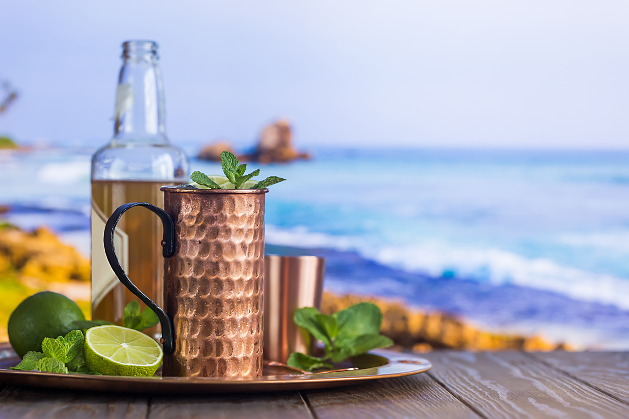 Mexican Mule - 2 oz. / 60 ml. Tequila5 oz. / 90 ml. Lime juice6 oz. / 120 mil Ginger beerFill copper mug or Collins glass with ice.Add lime juice and tequila, then fill with ginger beer and stir.Garnish with lime wedge.