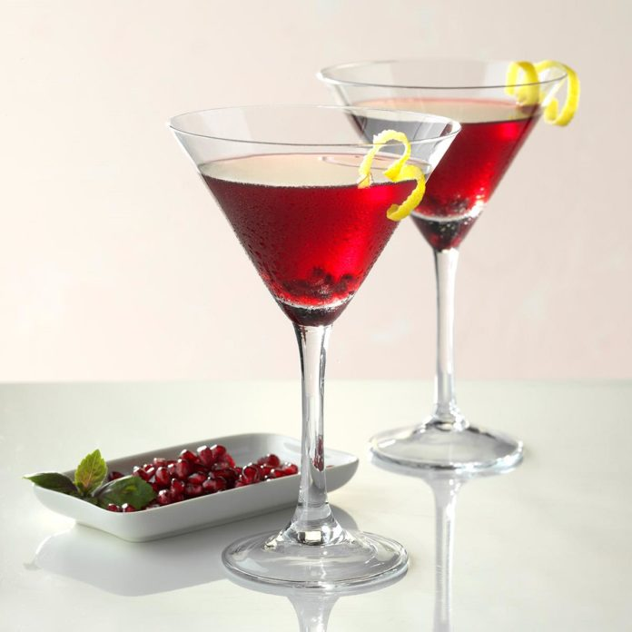 Pomegranate Martini - Raspberri infused vodka (I use Absolut Raspberri)Pomegranate juiceOrange liqueur (Cointreau or Triple Sec)Lime juicePomegranate seedsIn a martini shaker, combine equal parts vodka, juice and liqueur over ice. Add lime juice to counter sweetness. Pour into desired glass and garnish with pomegranate seeds and a twist of lime or lemon.