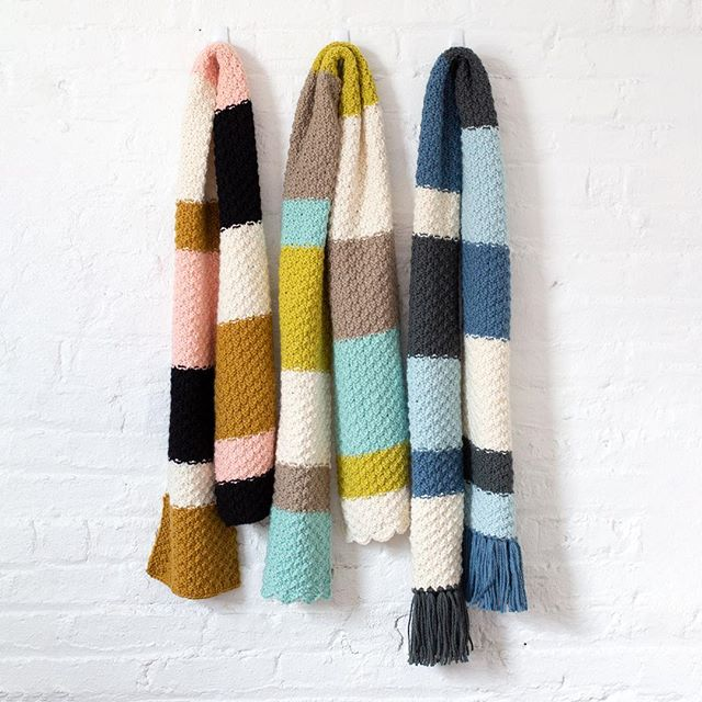Now you can get our Pebbled Path Scarf pattern on our website or Ravelry- it's free! It's an easy project big on impact in our soft wool/alpaca BENNOTO. Kits in the colors shown are also available.   #cloud9bennoto #ravelrypattern