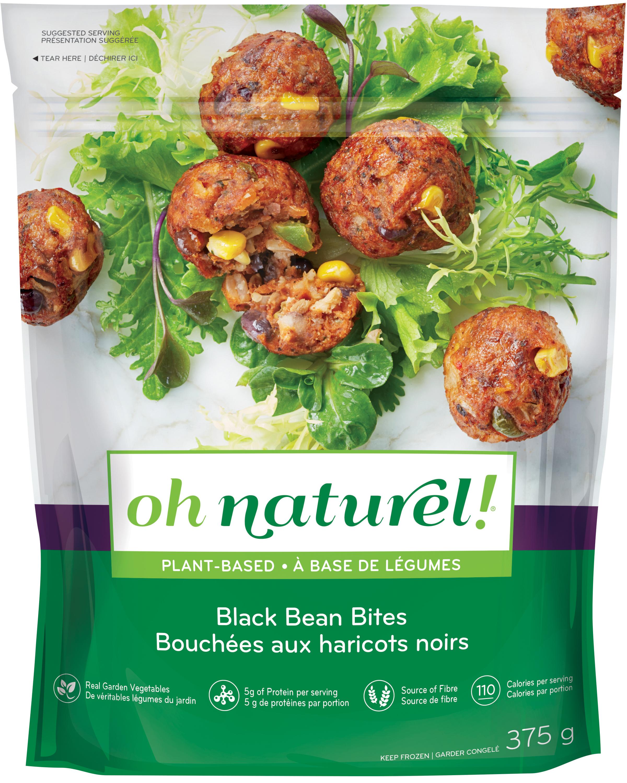 oh naturel! Black Bean Bites, Quinoa Mushroom Burger, & Garden Vegetable Bites
