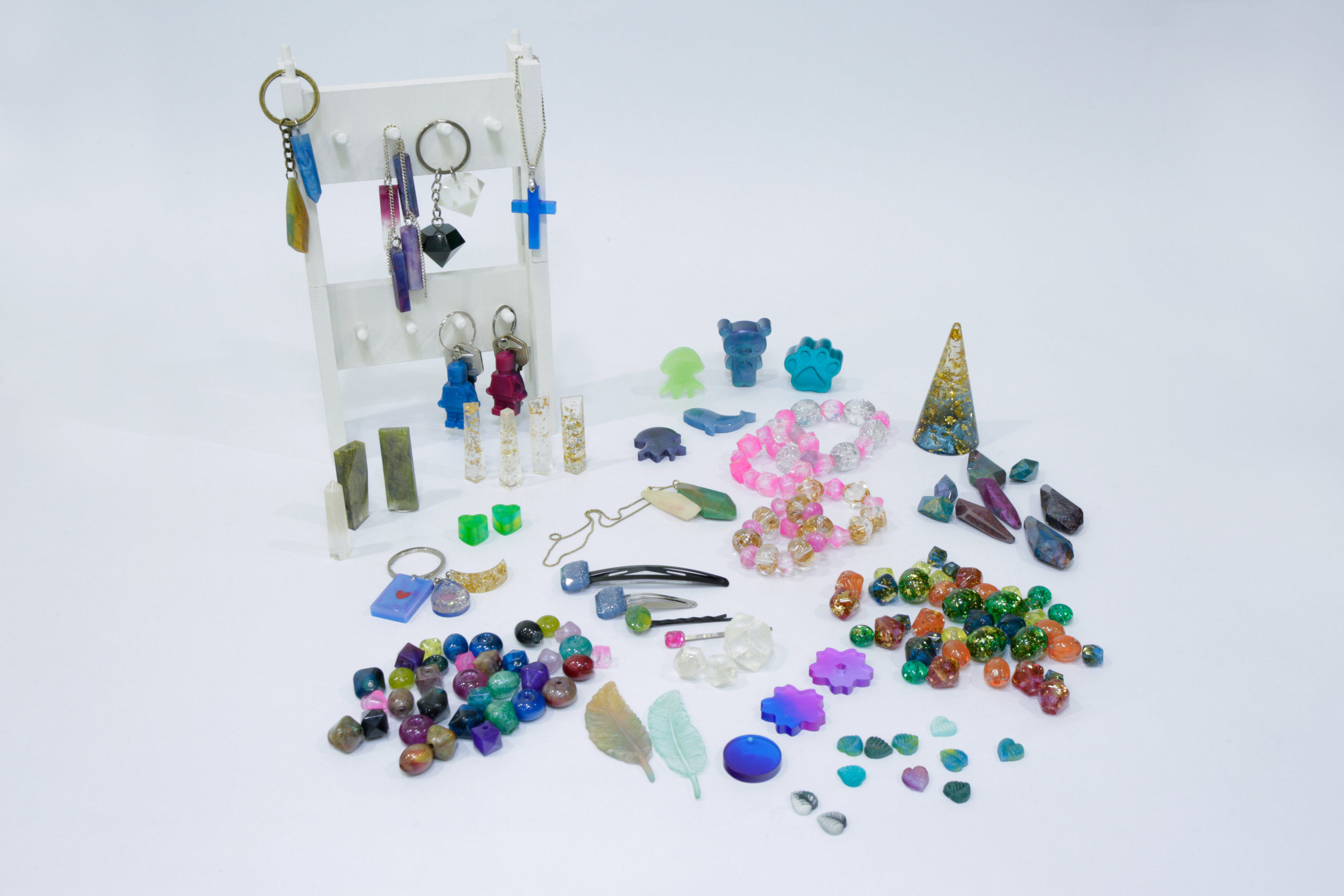 Collection of small ornaments and accessories made of Resin