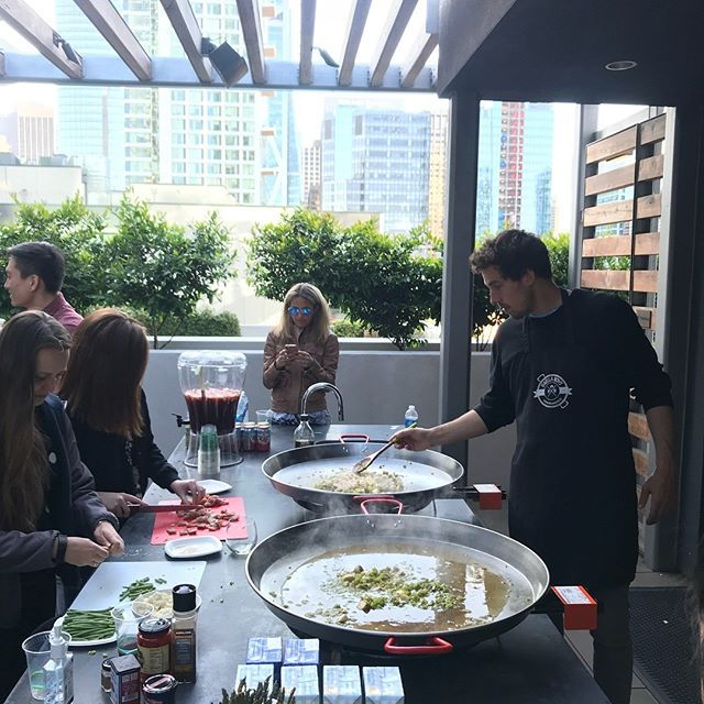 Repost from @paellaboys: Awesome team-building workshop with #herodigital and #paellaboys in this beautiful rooftop in downtown #sanfrancisco. Thanks everybody for a fun hands-on afternoon! 🥘 . . . . . . . . #paellaboys #paella #tapas #spanishfood #sffoodie #sfeats #seafood #foodielife #sfsundayfunday #sfliving #sfbayarea #sffood #cookingclasses #brunch #organic #verlocal #spain #spanishfood #yum #eats #eeeeeats #cookingclass #learntocook #diy #workshop #todosf