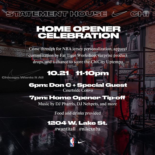 I'm hosting at the exclusive Nike space starting at Noon in the West Loop Chicago TODAY! Come through to purchase gear, kicks, etc to kickoff the Bulls Season Opener. At 6 PM, I'll be moderating a 1 On 1 conversation with @chicagodonc, and at 7, we will be showing the Bulls game on the screen. Food and Drinks provided. Celebrating the #NikexNBA collaboration. Swipe to see the space and a previous event.