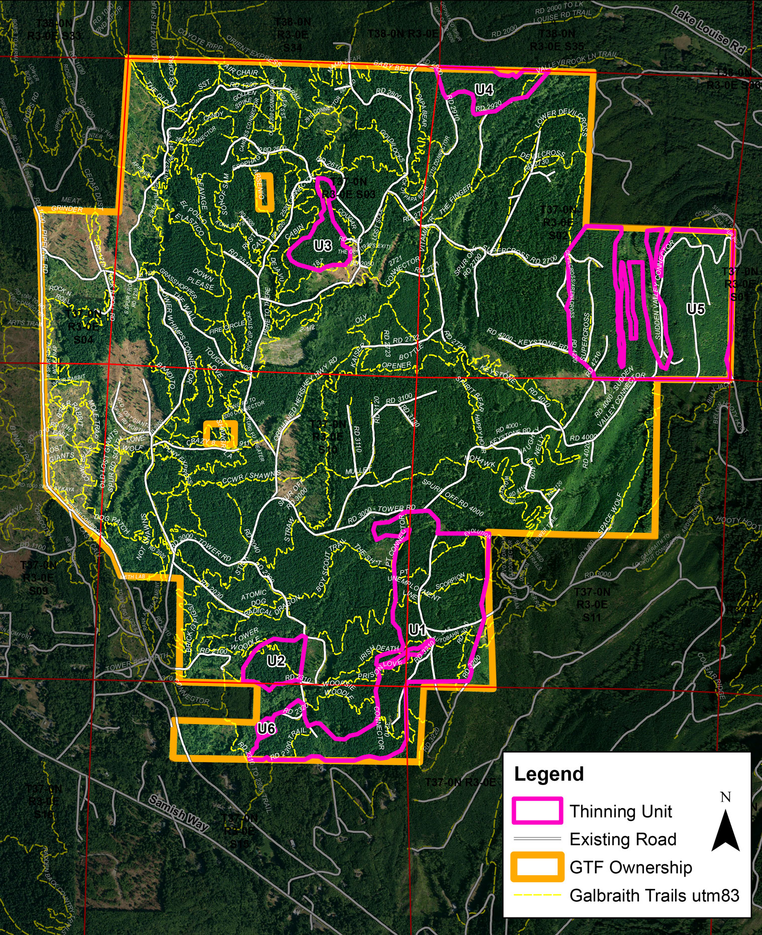 Map of Planned Timber Thinning Operations And Trails At Galbraith Tree Farm