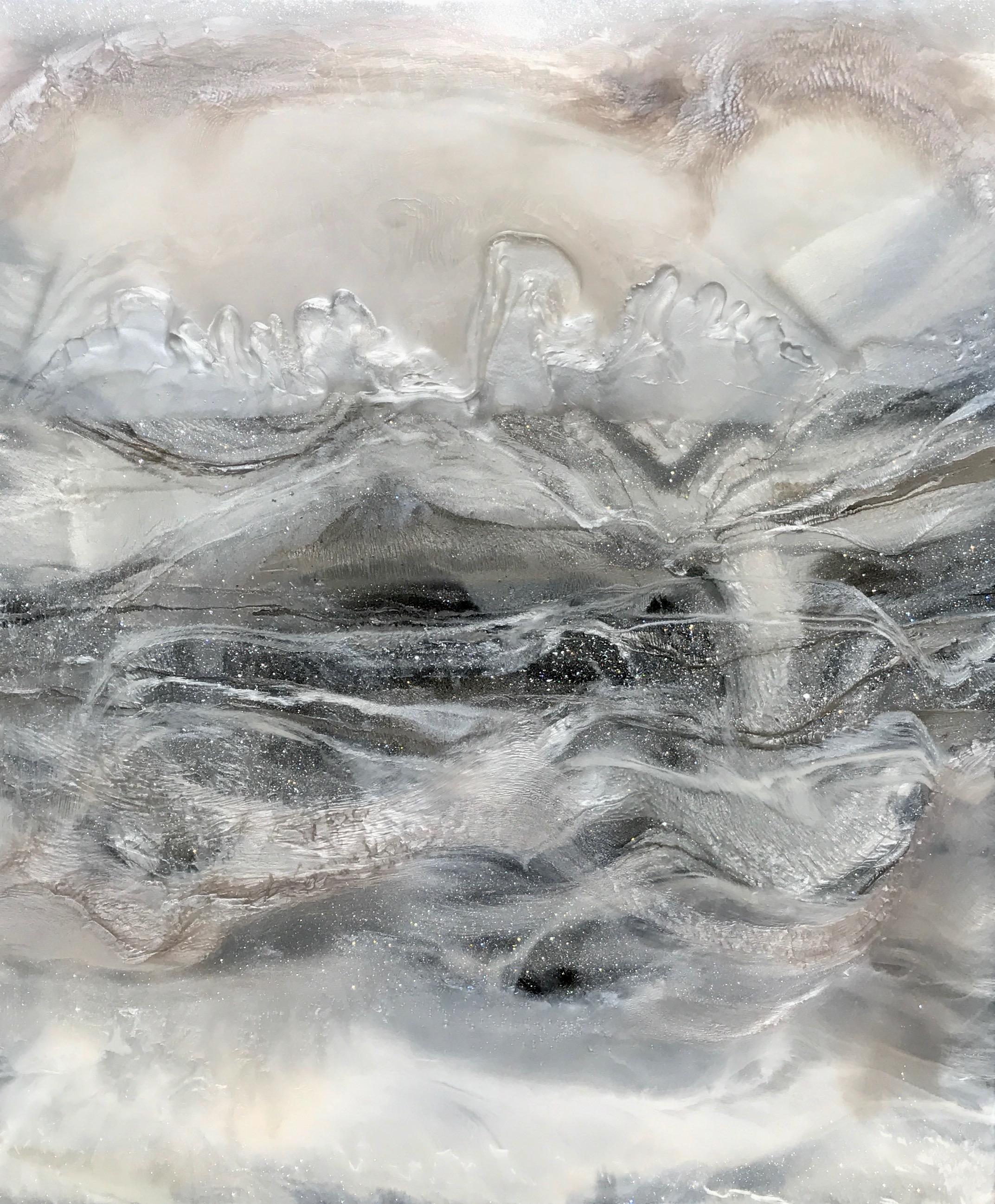 """Silver Serenade"". Mixed Media on Canvas, 50""x56""  SOLD"