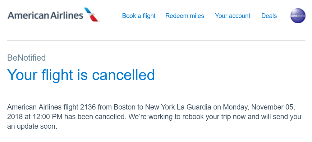 This is a sample notification users would typically receive when their flights get cancelled..
