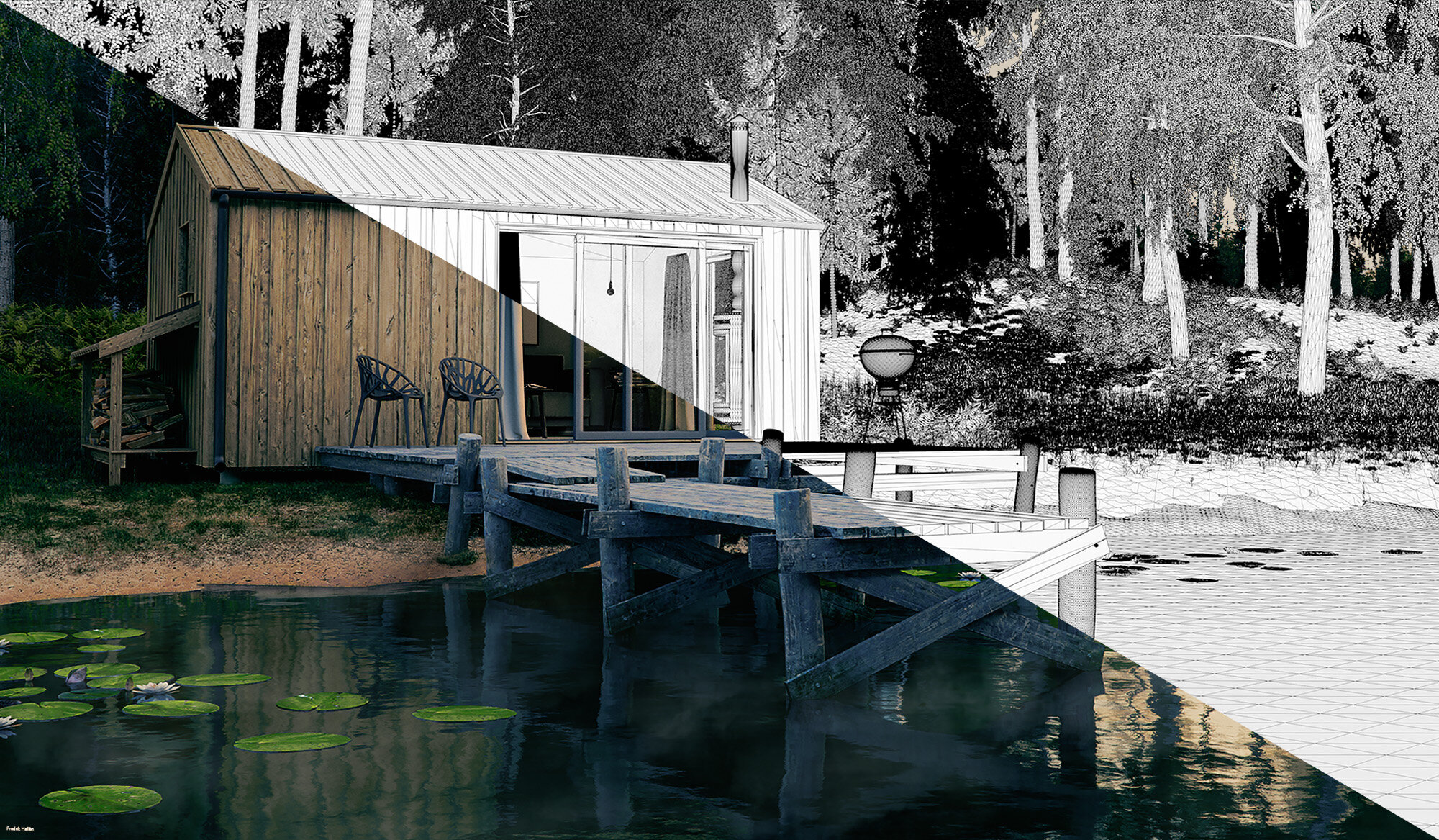 3D Matte Paint Cabin in the woods Evening Wireframe Njord Studio.jpg