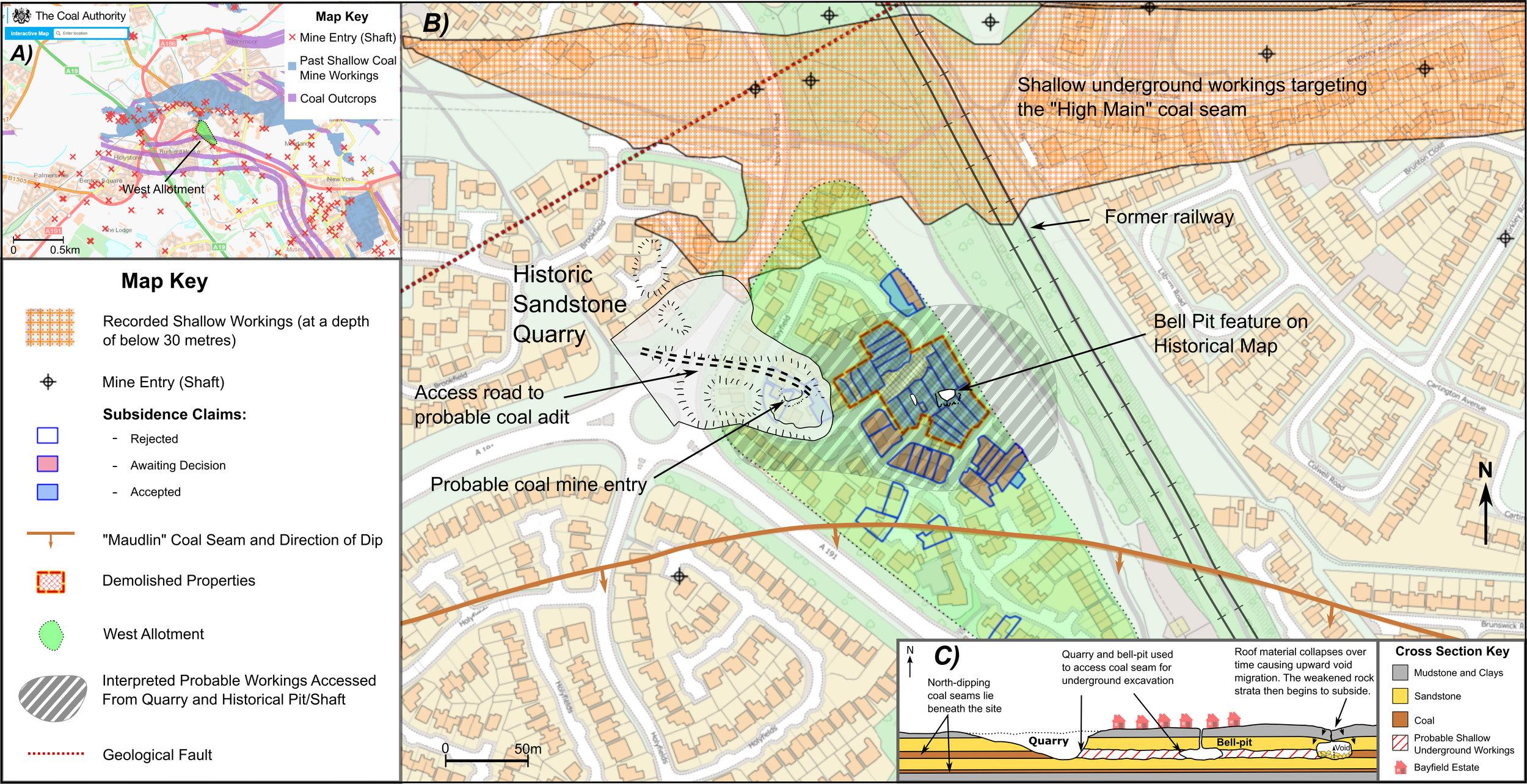 Figure 1: Terrafirma desk study assessment of shallow mining hazard at Bayfield Estate