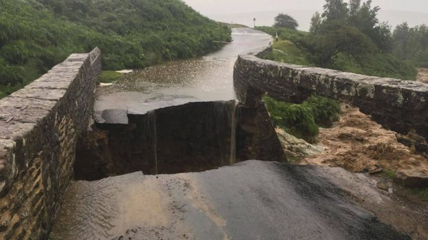 A collapsed bridge in North Yorkshire. Image courtesy of Swaledale Mountain Rescue Team