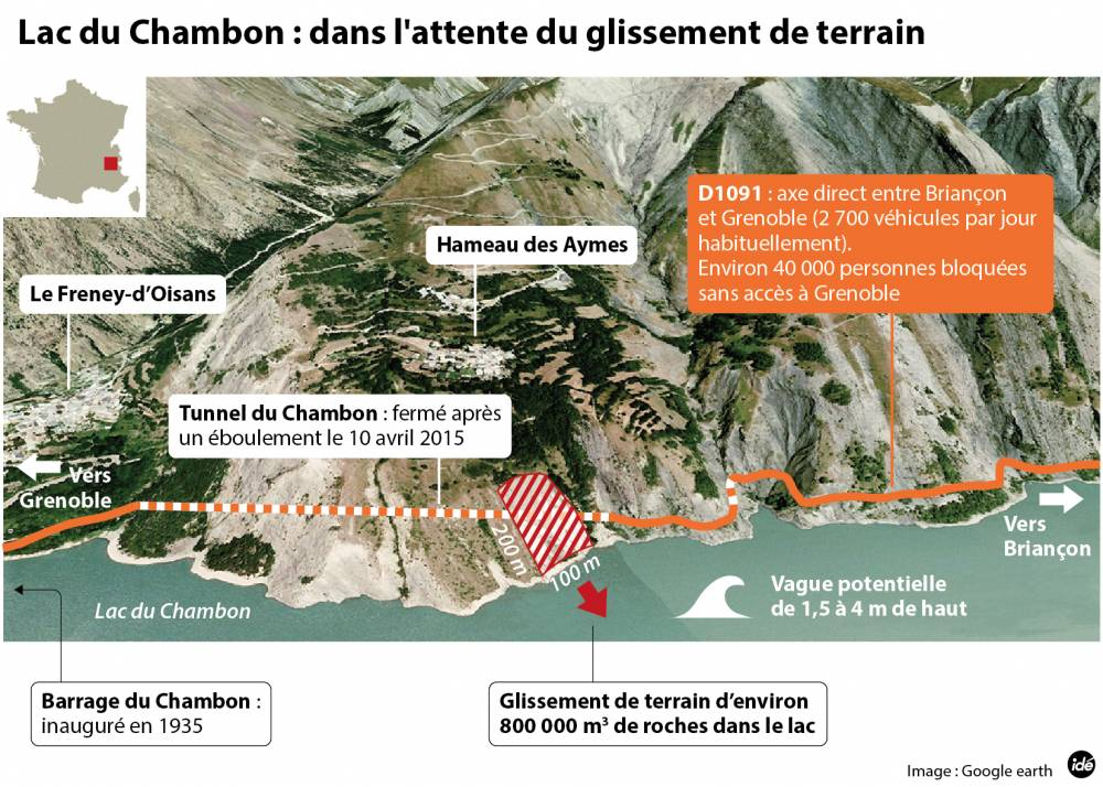 An infographic of the Chambon landslide. [1]