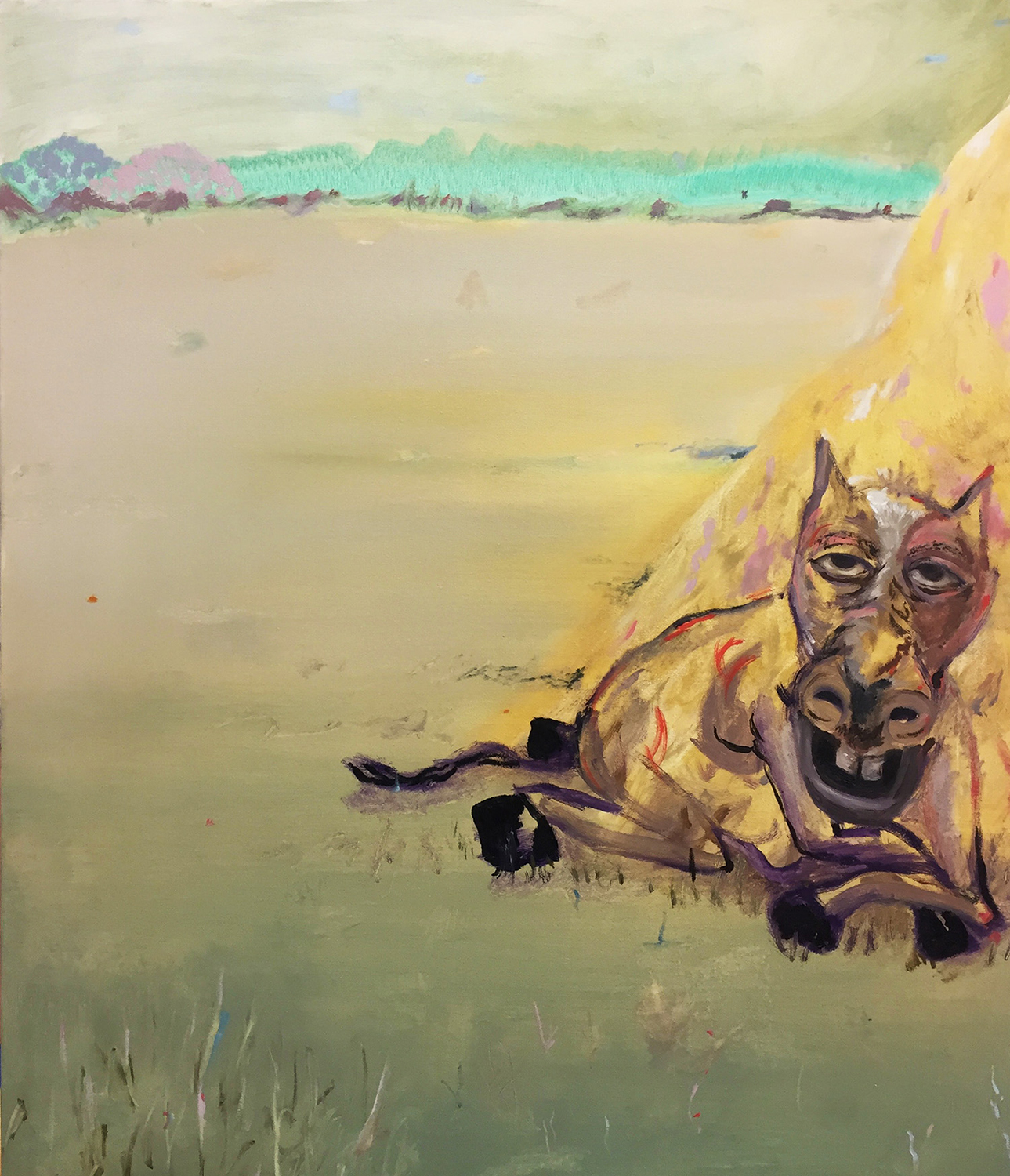 Horse and a Hay Pile, 2017. Oil on canvas, 24x36 inches.