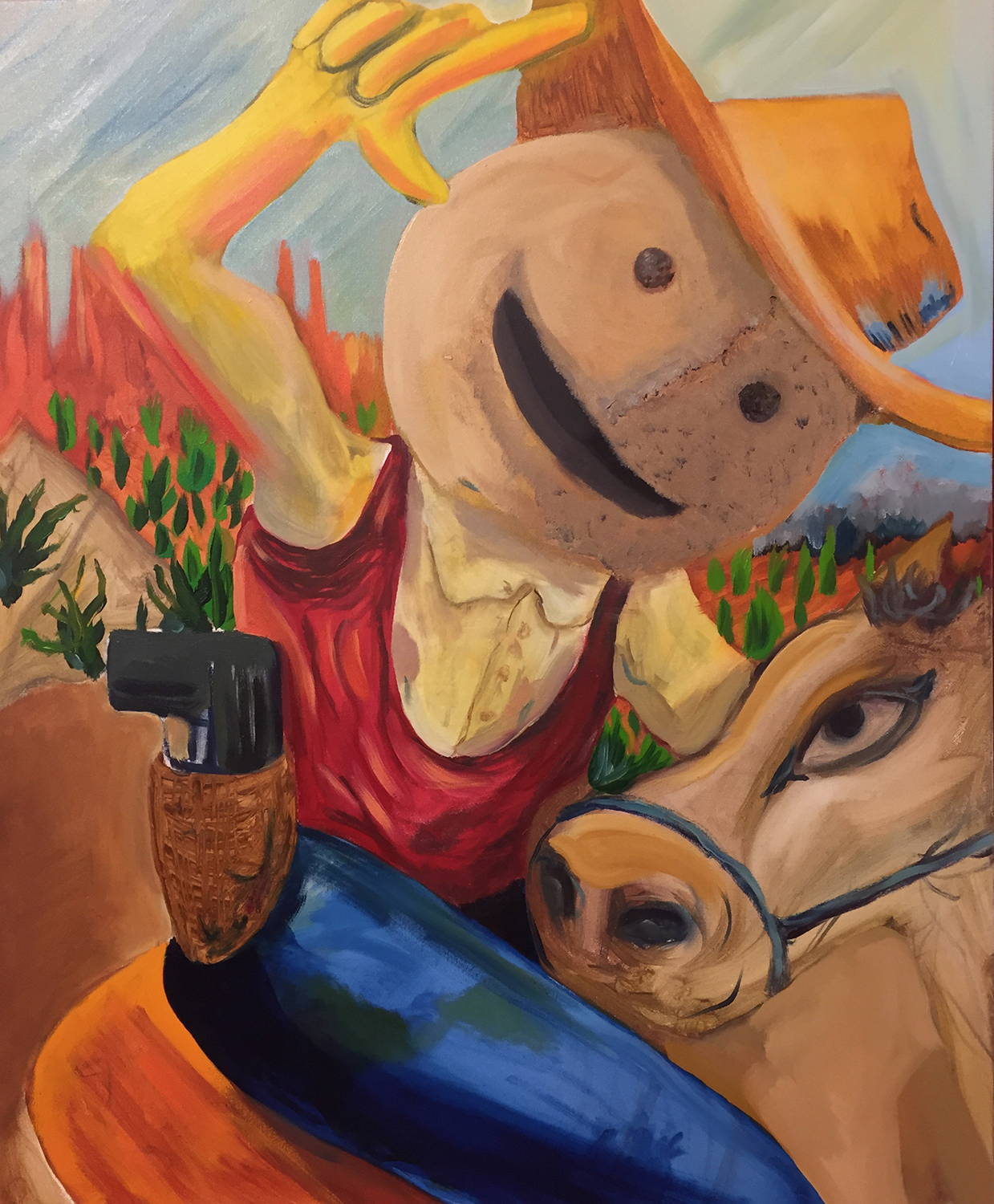 Howdy, 2017, oil on canvas, 18 x 24 inches.
