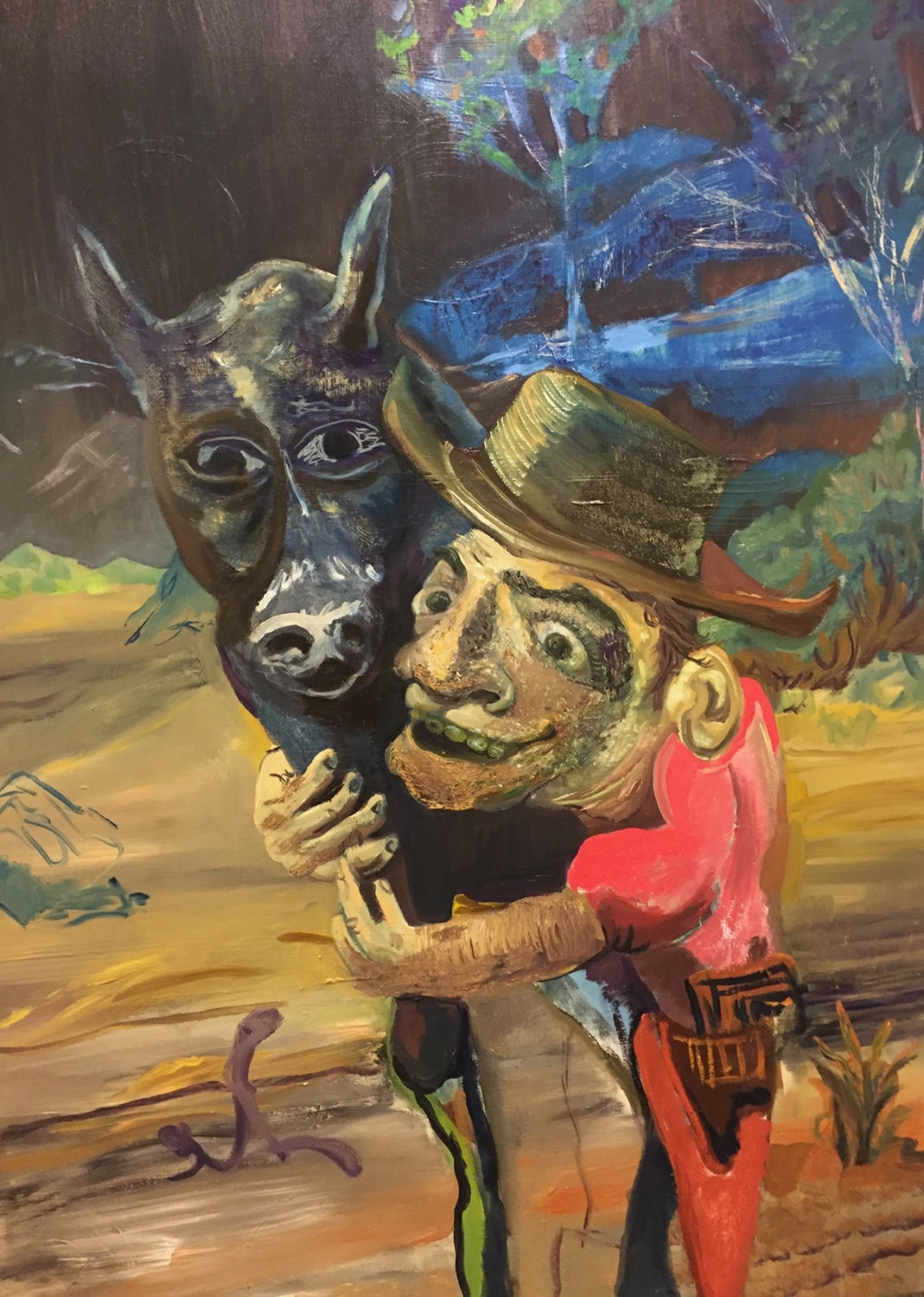 Crooked Cowboy, 2017. Oil on canvas, 48x72 inches.