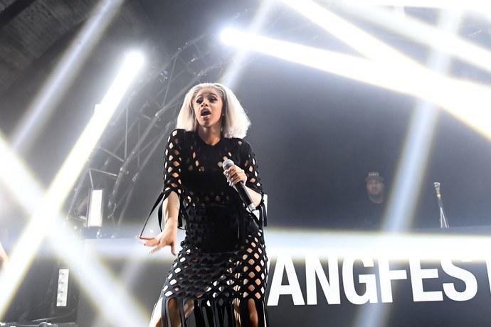 Cardi B performing at Alexander Wang afterparty