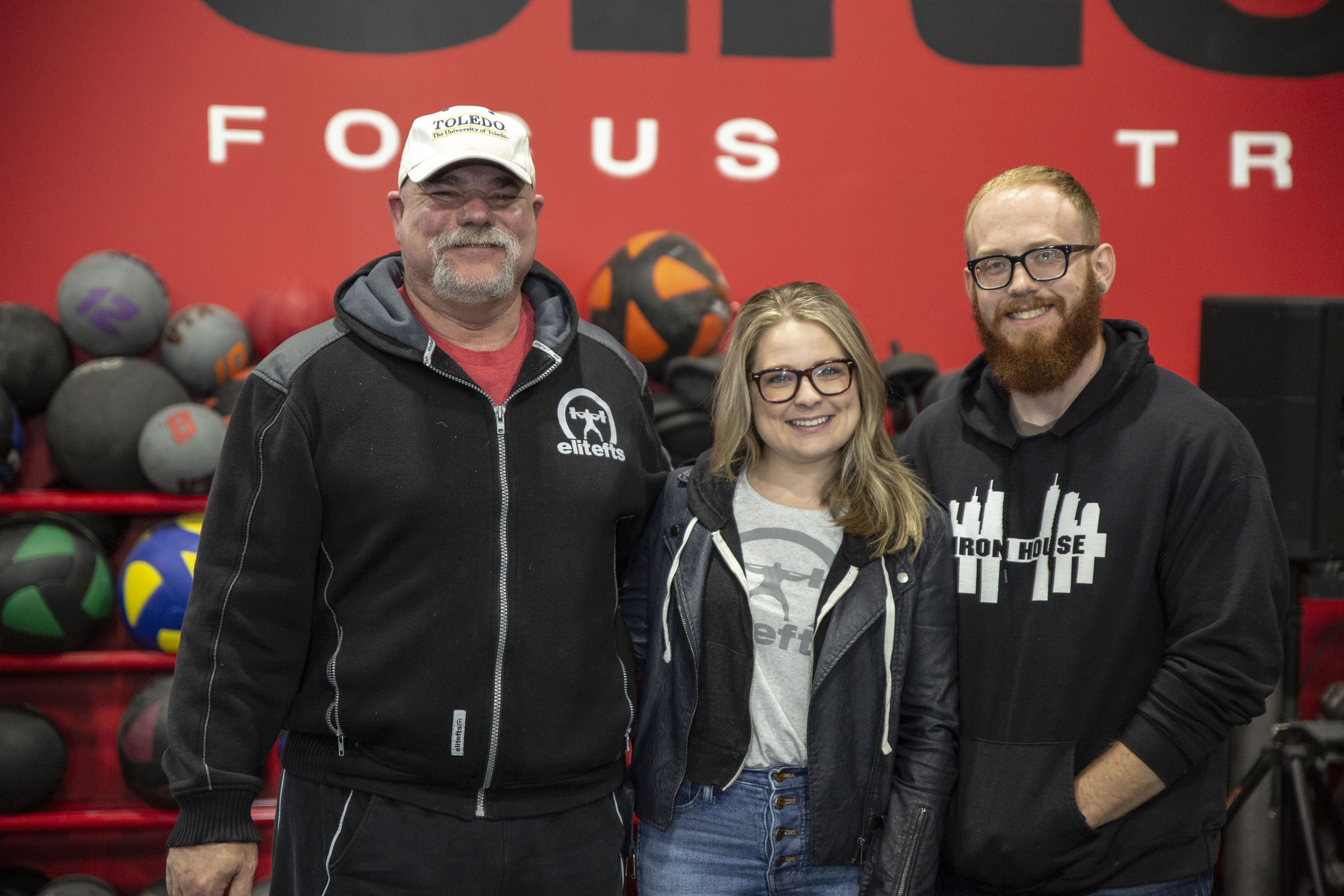 Dave Tate,  Leslie Eiler Thompson , and  Michael Thompson  in the legendary EliteFTS gym