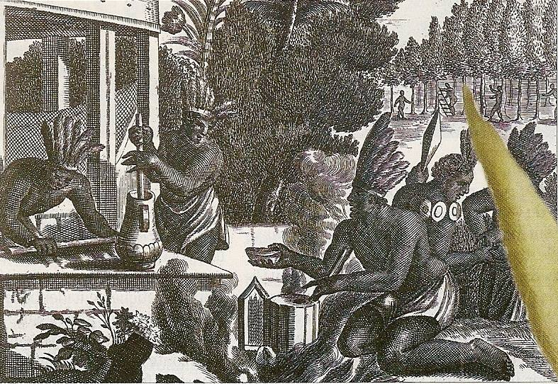 Aztecs Preparing Chocolate  Aztecs preparing chocolate, engraving from Histoire de l' Amerique , 1600