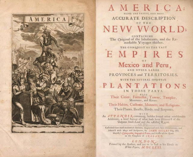 America : being the latest, and most accurate description of the New World : containing the original of the inhabitants, and the remarkable voyages thither : the conquest of the vast empires of Mexico and Peru, and other large provinces and territories, with the several European plantations in those parts : also their cities, fortresses, towns, temples, mountains, and rivers : their habits, customs, manners, and religions : their plants, beasts, birds, and serpents : with an appendix containing, besides several other considerable additions, a brief survey of what hath been discover'd of the unknown south-land and the Arctick region (1671)  by Ogilby, John, 1600-1676; Montanus, Arnoldus, 1625?-1683  Published 1671