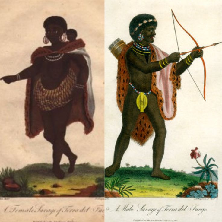Male and Female Savage of Terra del Fuego, 1795