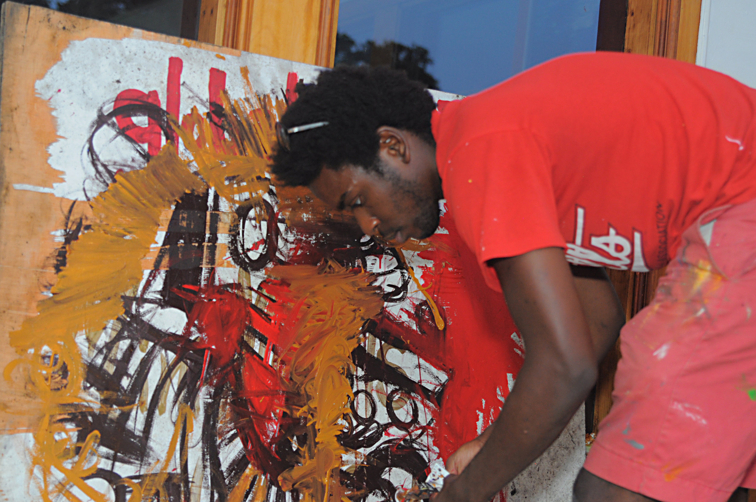 Jajah Gray shows his expert hand in visual arts teaching patrons , he currently Manages  Annunaki$ Art Collective