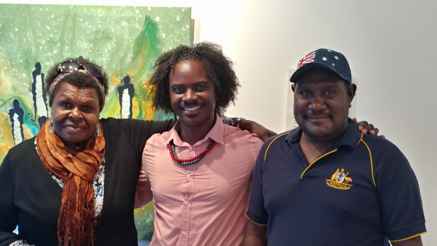 Interconnected Cultural Exchange and discovery with parters   Pictured :  Founder (Center) Danny Asberry El with Australian Aborigine Artists and Family