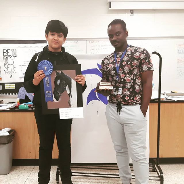 I am so proud of one of our students for making best of show at the Houston Livestock Show and Rodeo #artwins #solelteachinglife #kms #happyforhim #thisguy