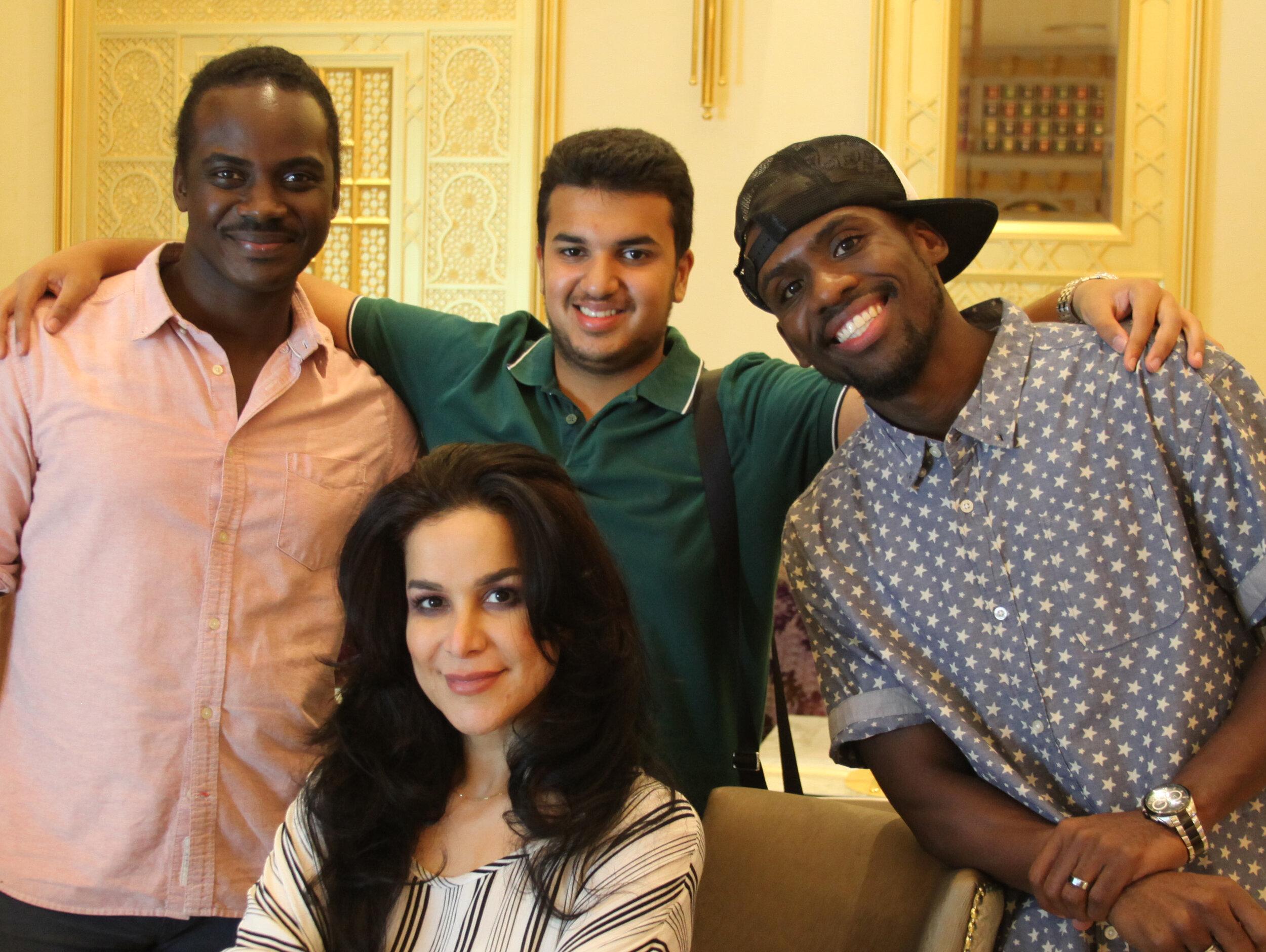 "In the Photo:  Her Highness Shaikha Abeer Al Khalifa, (center), Singer Danny ""Eclipse the Earthstar"" Asberry El (left), His Highness Sheikh Rashid Bin Mohammed Al Khalifa, (upper-center), International Recording Artist Richmond ""Hotline"" Shaw (right).  Solel International"