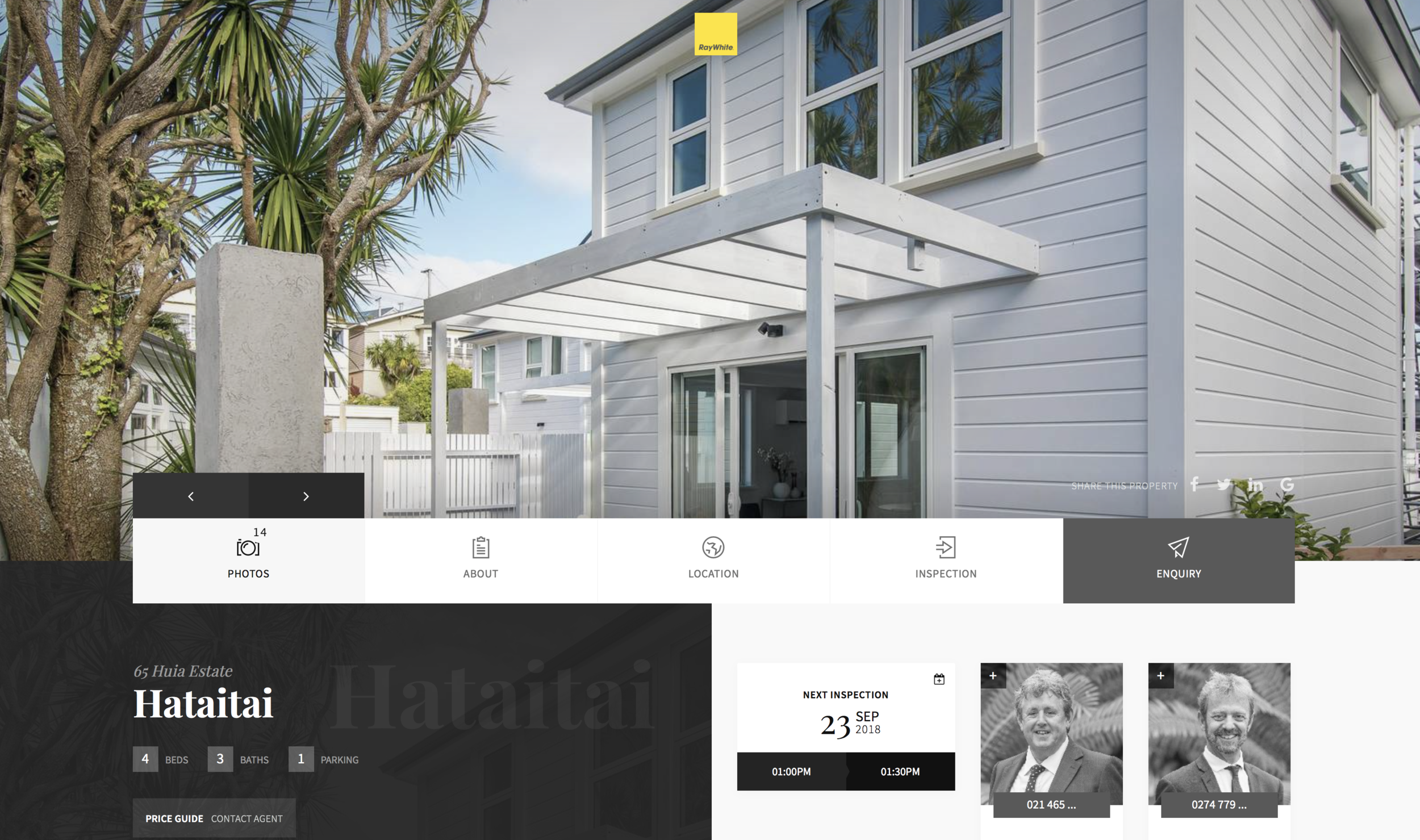 Landing page of the property - More information provided with viewing times and contact details