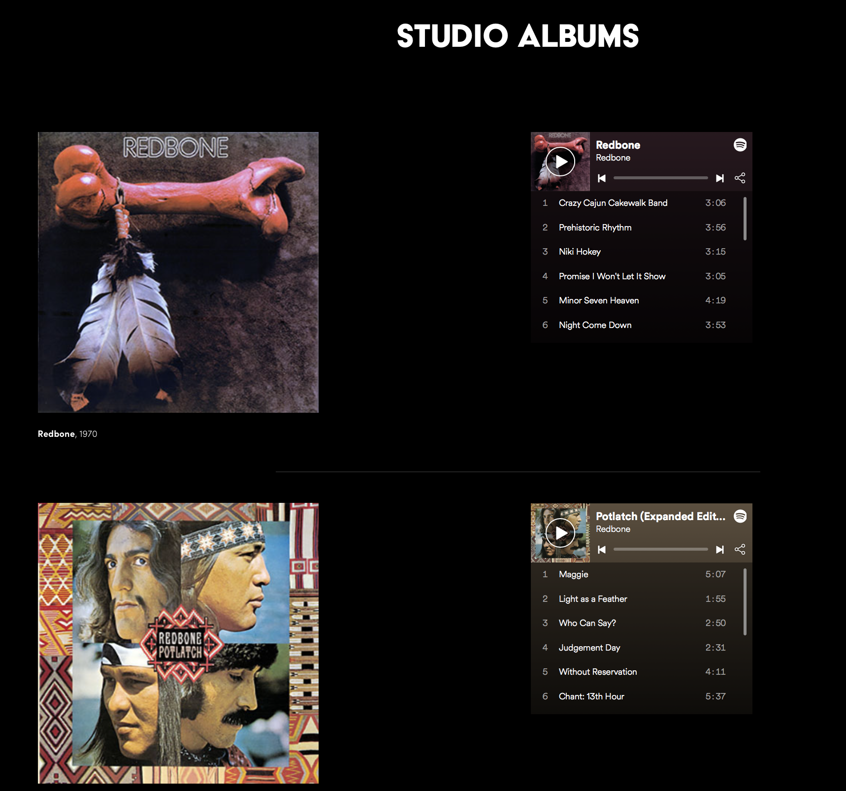 Visit the Music page and Listen to Redbone's songs -