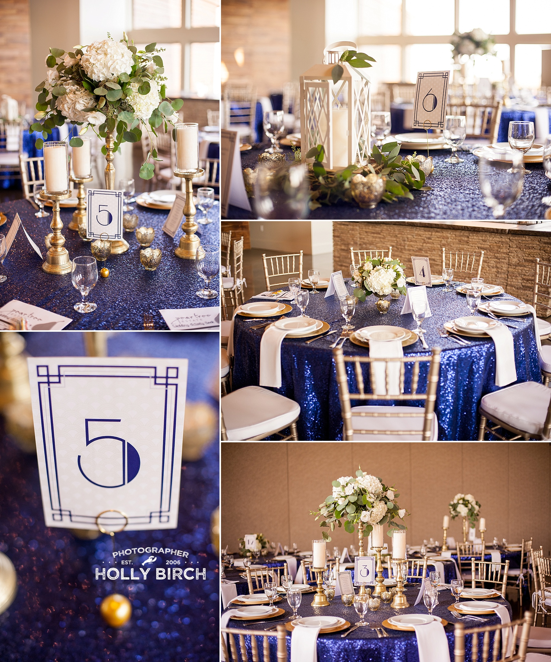 navy sequin tablecloth with gold accents