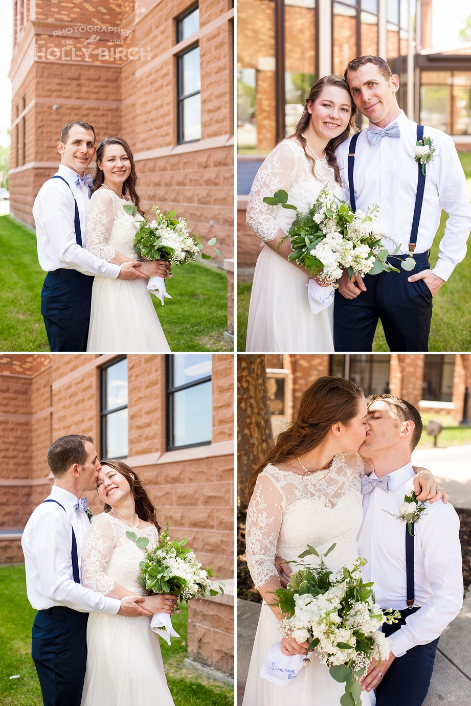 pictures of bride and groom in front of courthouse