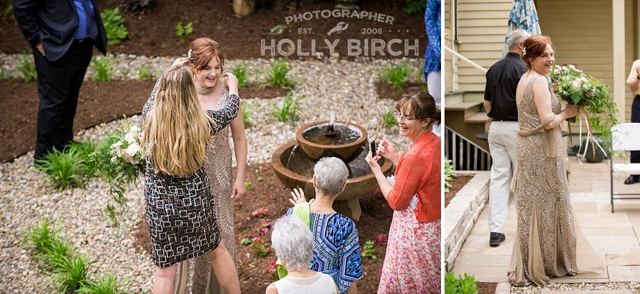 candid moments at backyard wedding