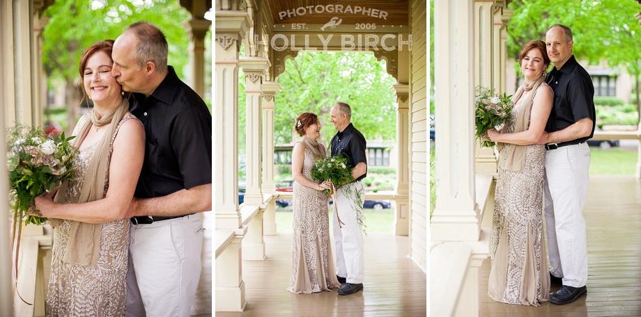 wedding couple photos on historic wraparound porch