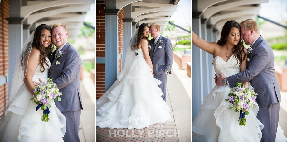 bride and groom at Kankakee train station