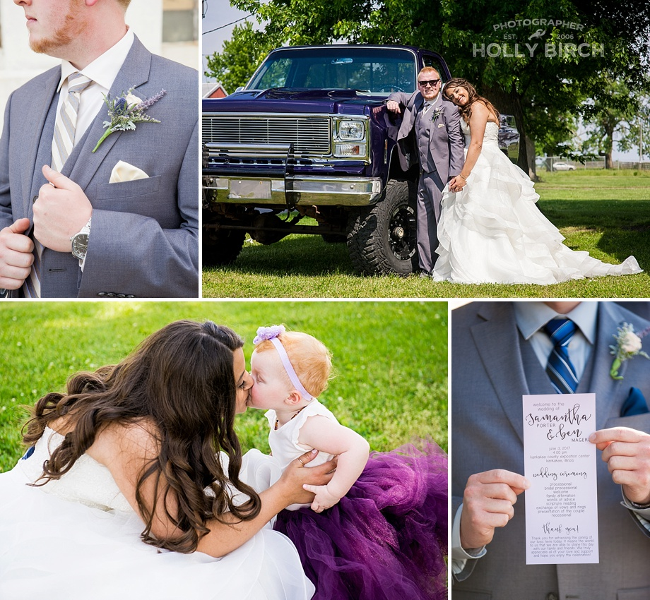 candid photos of flower girl and groom's truck
