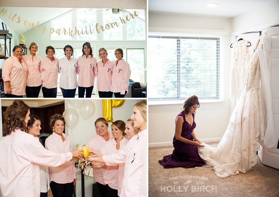 bridesmaids getting ready at condo